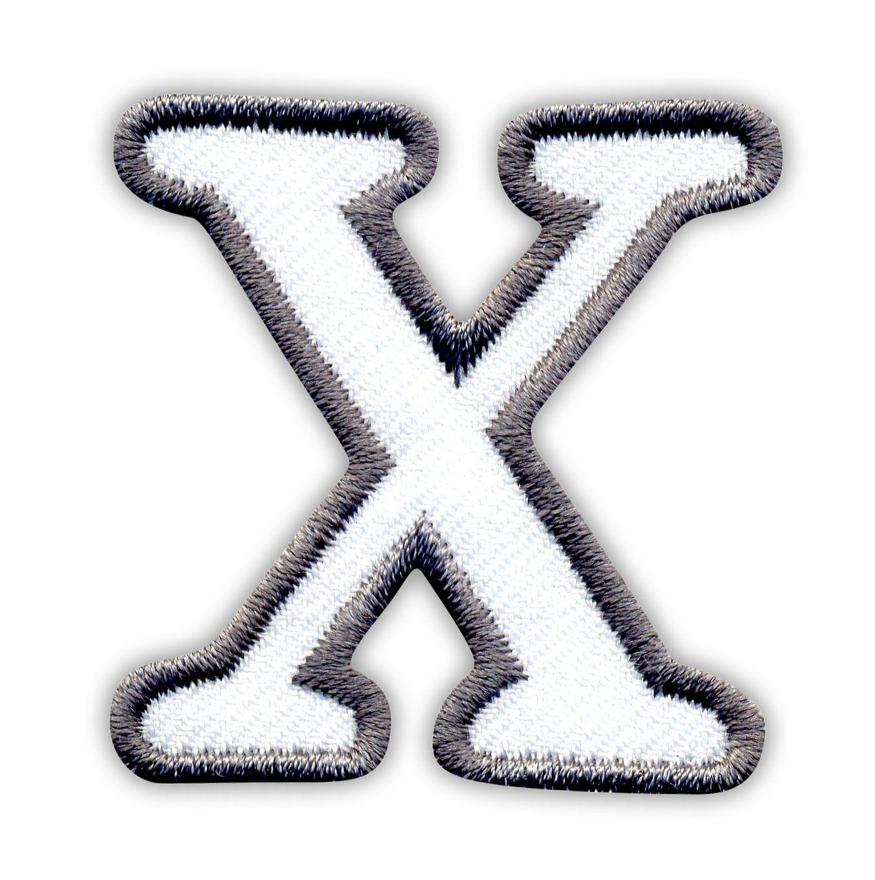 Litera X Białe Tło Szare Obszycie Naszywki24pl Sklep
